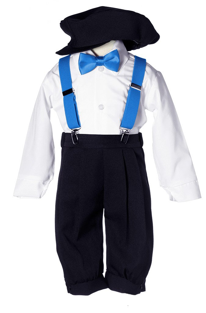 Toddler Boys Black Knicker Set with Caribbean Blue Suspenders & Bow Tie 4T