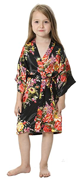 7685a6cfc6d Amazon.com  JOYTTON Girl s Satin Floral Kimono Flower Girl Getting ...