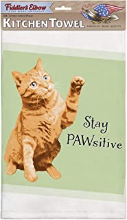 product image for Fiddler's Elbow Stay Pawsitive Funny Cat Saying |100% Cotton Eco-Friendly Dish Towel | Kitchen Towel with Hanging Loop | Cat Dish Towel | Gift for Cat Lovers