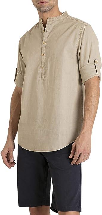 MO Camisa Hombre Cuello Mao de Lino Y Algodón - Beige - Talla XL: Amazon.es: Ropa y accesorios
