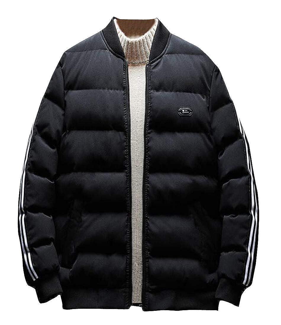 pipigo Men Winter Slim Fit Thicker Zip Up Side Stripe Down Quilted Coat Jacket Overcoat