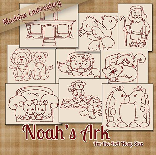 Machine Ark Design Noahs Embroidery - Noahs Ark and Animals Redwork Embroidery Machine Designs on CD - Multiformat