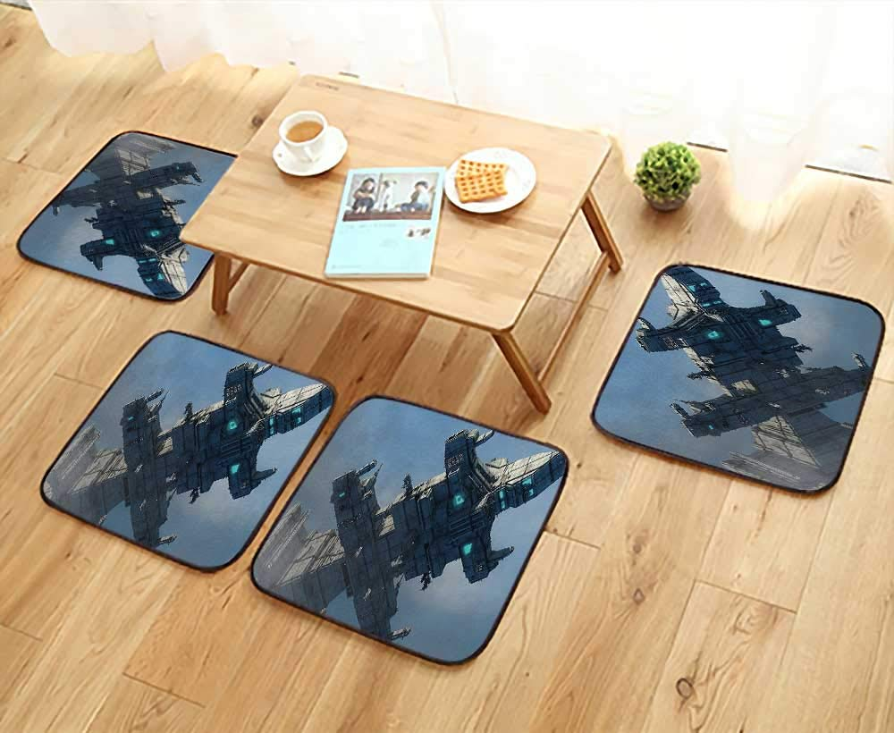 Home Chair Set Decor Photo of Huge Military Ship in The Air Solar Planetary Cosmos Vehicle Machine-Washable W21.5 x L21.5/4PCS Set