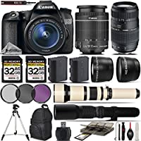 Canon EOS 70D SLR Wi-Fi Camera + Canon 18-55mm IS STM Lens + Tamron 70-300mm Di LD Lens + 650-1300mm Zoom Lens + 500mm Telephoto Lens + 0.43X Wide Angle Lens- International VersionProfessional Te