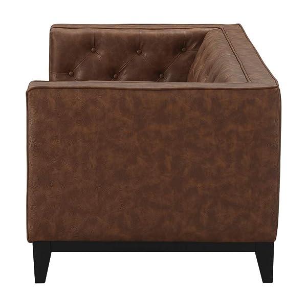 "Manhattan Comfort 222HL7 Cadman Mid Century Modern Fuax Leather Button Tufted Living Room Loveseat, 59.06"", Camel"