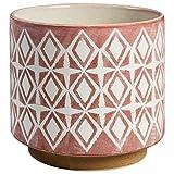 Rivet - Maceta de cerámica geométrica Moderna, Rosa, Large, 1