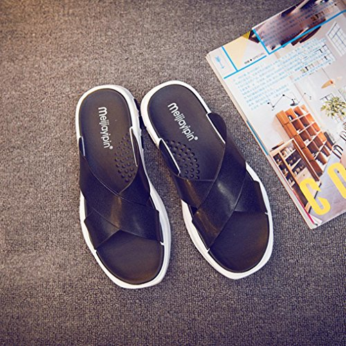 Sandals Beach Summer Flops Inkach Sandals Shoes Flat Bath Slippers Mens Fashion Flip Black vn1nUqgz