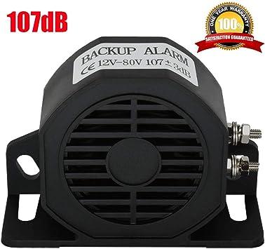 12V Beeper 107dB Car Backup Alarm,Waterproof Heavy-Duty Backup Warning Alarm For Truck Van Freight Car Lorry Heavy Vehicles,With Super Loud Beeper Tone