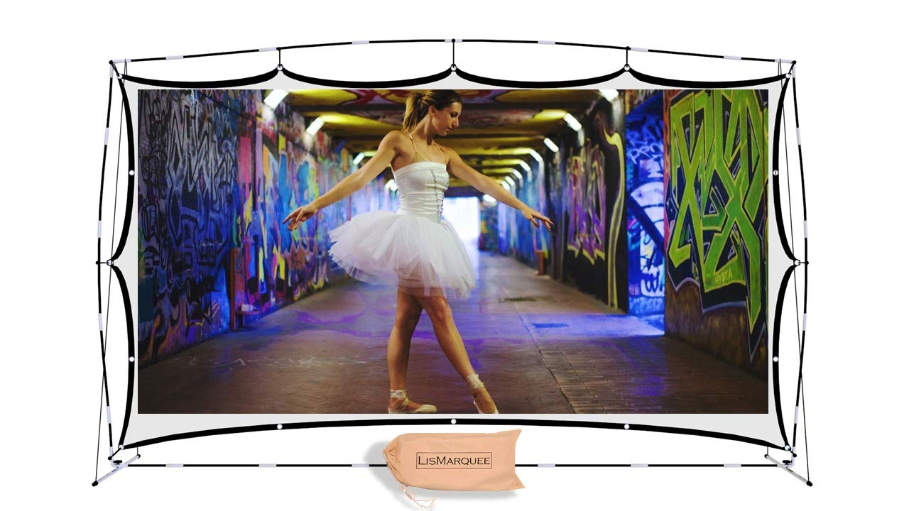 LisMarquee 150 Inch Front/Rear Projection Indoor/Outdoor Home Theatre No-Wrinkle Portable Projector Screen with Stand and FITS-INTO-A-Back-Pack by LisMarquee
