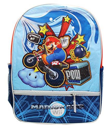 Mario Kart Wii Mario Riding a Dirt Bike Full Size Kids Backpack (16in) (Mario Kart Wii All Karts And Bikes)