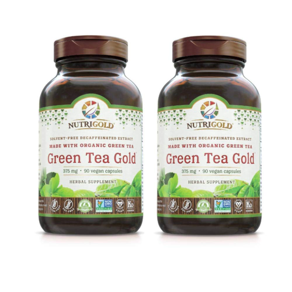 Nutrigold Solvent-Free Decaffeinated Extract Green Tea Gold 375 Miligrams (90 Vegan Capsules) Pack of 2