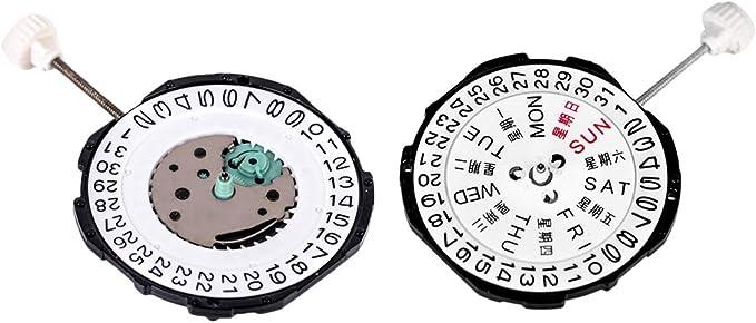 Einzel-// Doppel-Kalender Zifferbl/ätter ausw/ählbar IPOTCH Uhrwerk Ersatzmechanismus mit 3-Uhrzeiger doppelter Kalender