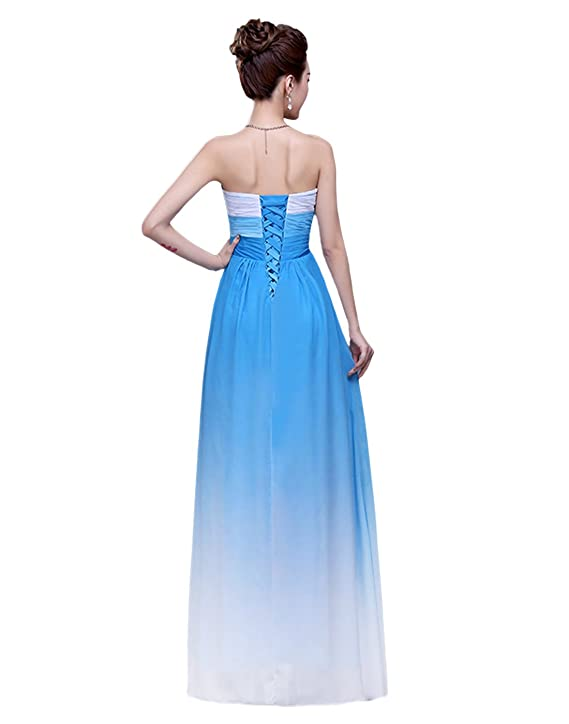 Dressystar Womens Chiffon Ombre Dress Sweetheart Ruffles Empire Line Evening Dress Size 18 Blue: Amazon.co.uk: Clothing