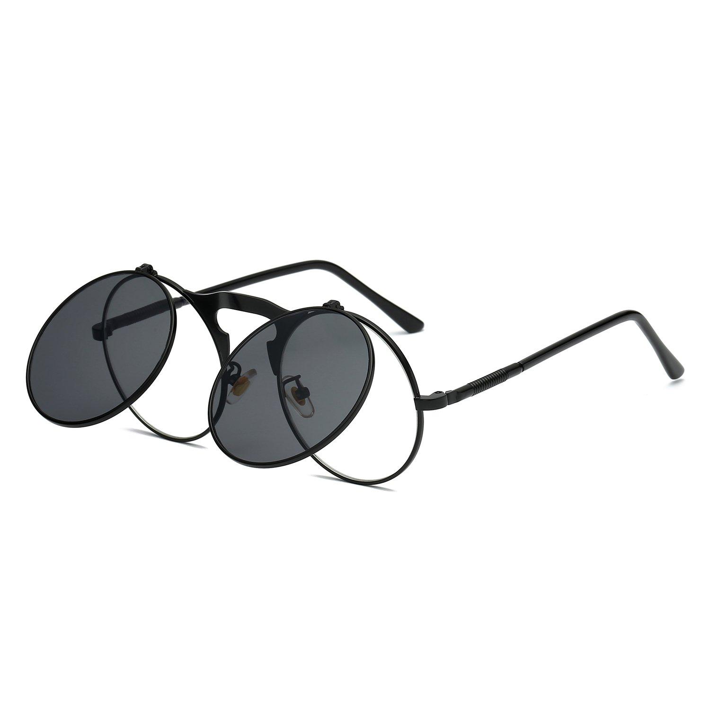 c32a43800c3 Amazon.com  VeBrellen Retro Round Flip-Up Steampunk Sunglasses Clamshell  Metal Frame Sunglasses (Black Frame Grey Lens