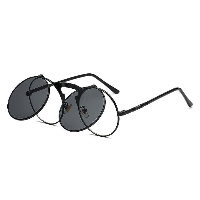 8a7f7eddaa6 VeBrellen Retro Round Flip-Up Steampunk Sunglasses Clamshell Metal Frame  Sunglasses (Black Frame Grey