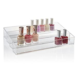 STORi Clear Plastic Multi-Level Nail Polish Organizer | Holds up to 40 Bottles