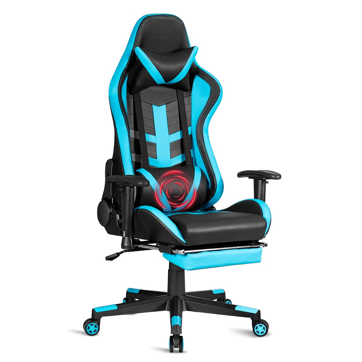 Giantex Massage Gaming Chair with Health Massager Lumbar Support, Adjustable High Back Computer Racing Seat Thick Memory Sponge with 360 Degree Revolving Chair Seat, Retractable Foot Shelf (Blue) by Giantex