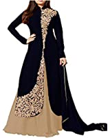 Royal Export Black Bangalori Silk Women's Semi-Stitched Salwar Suit Set (Bangalori Black Beigge_Free Size)