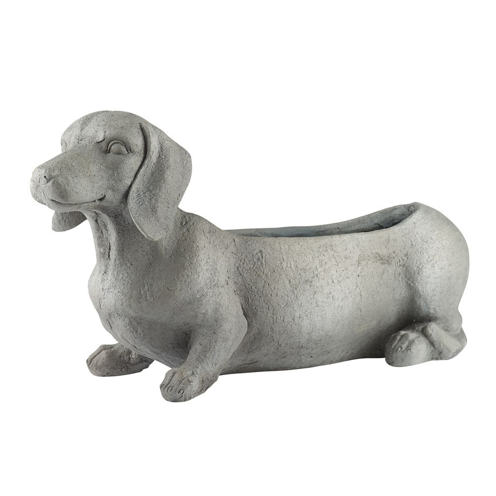 WHAT ON EARTH Dachshund Dog Planter - Indoor/Outdoor - 23'' Long x 12.5'' High x 7.5'' Wide by WHAT ON EARTH