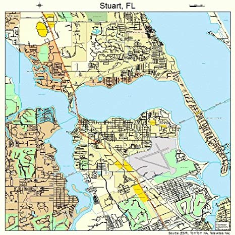 Map Of Stuart Florida.Amazon Com Large Street Road Map Of Stuart Florida Fl Printed