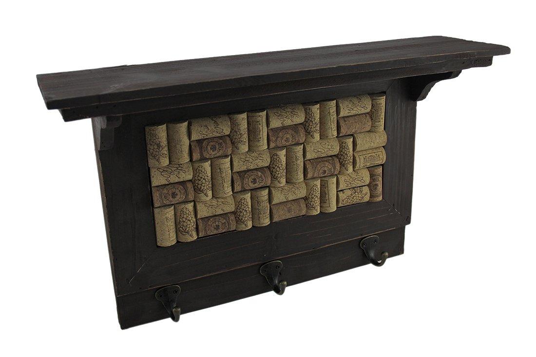 Zeckos Wood Decorative Wall Hooks Wooden Wine Cork Board Wall Hook Shelf 19.5 X 11.75 X 5 Inches Brown by Zeckos (Image #1)