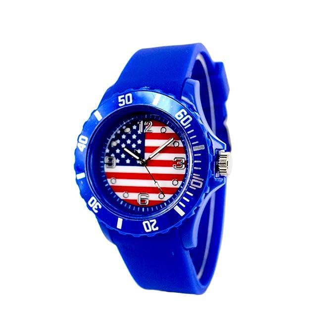 Reloj con la bandera de EEUU con pulsera de Silicona