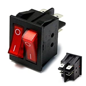 iJDMTOY (1) Dual On/Off Snap-In Rectangle Rocket Dashboard Switch For Car Truck SUV ATV (2-PIN SPST 16A/250V)