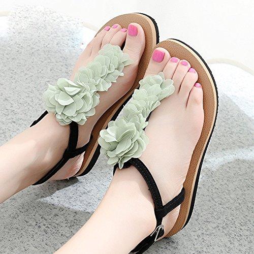 FEI Mädchen Sandalen Slope Mit Sandalen Weibliche Rutschige Flache Sandalen Student Schuhe Casual Schuhe Für 18-40 Jahre Rutschfest ( Farbe : 1001 , größe : 35 ) 1004