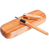 Vintage Fountain Pen (Gold Nib) Natural Handcrafted Bamboo with Case and Refill Converter