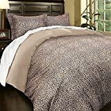 UNK 3pc Full Queen Leopard Duvet Cover Set, Khaki Brown, Stylish Rich, Microfiber Soft, Luxurious Wild Animal Pattern, Safari Themed Bedding Warm Tan Color, African Design