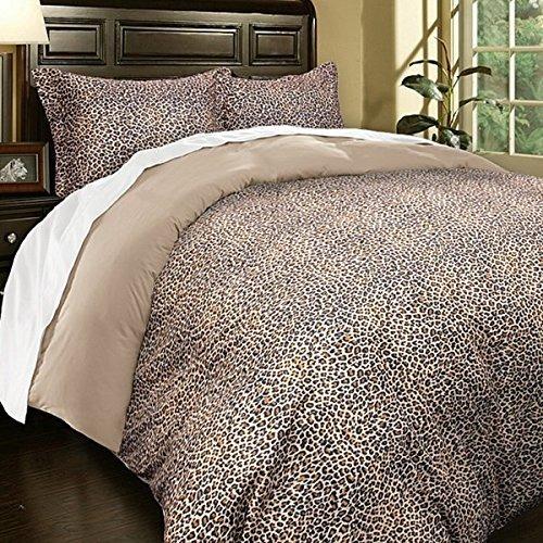UNK 3pc Full Queen Leopard Duvet Cover Set, Khaki Brown, Stylish Rich, Microfiber Soft, Luxurious Wild Animal Pattern, Safari Themed Bedding Warm Tan Color, African Design