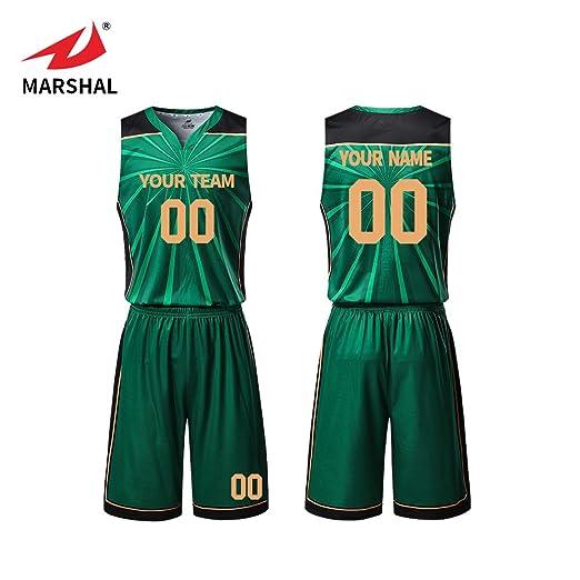 bbb043662b791 Amazon.com: Marshal Jersey Bling Green Basketball Jerseys Set S ...