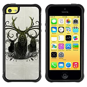 All-Round híbrido Heavy Duty de goma duro caso cubierta protectora Accesorio Generación-II BY RAYDREAMMM - Apple iPhone 5C - Deer Antlers Majestic Animal Northern