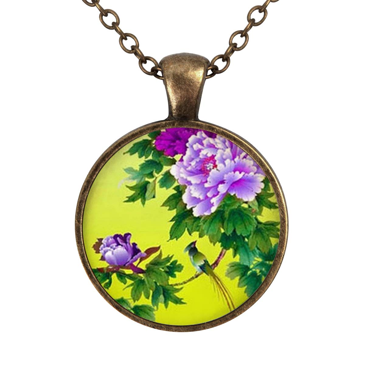 Lightrain Peony Flower Pendant Necklace Vintage Bronze Chain Statement Necklace Handmade Jewelry Gifts