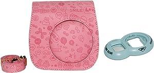 Gift4ES esencial Bundle Cámara linda del cuero de la PU Funda de transporte para Fujifilm Fuji Instax Mini 8 Con Hombro gratuito Correa Rosa + Primer plano Temporizador Lens - Azul
