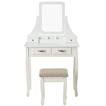 Amazon Com Honbay Makeup Vanity Set With Mirror And Cushioned Stool
