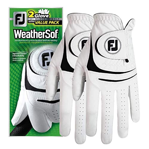 New FootJoy WeatherSof Mens Golf Gloves 2 Pack Small, Worn on Left Hand