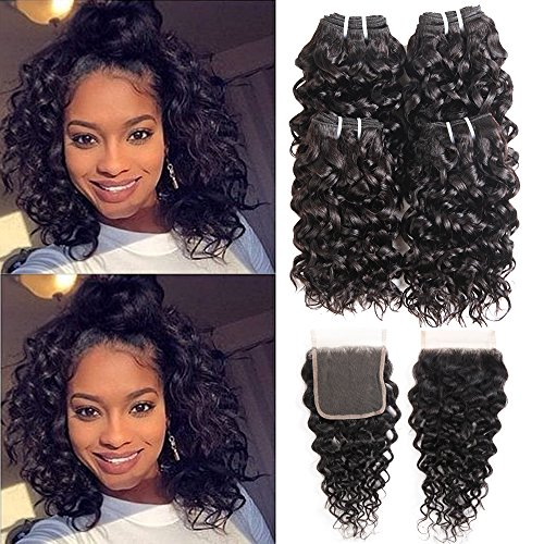Ms Taj Brazilian Water Wave Bundles with Closure 7A Brazilian Virgin Hair 4 Bundles with Lace Closure Free Part Unprocessed Wet and Wavy Human Hair Extensions Natural Black (water 8 8 8 8+8 closure) by MsTaj