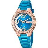 Calypso Damenarmbanduhr Quarzuhr Kunststoffuhr mit Polyurethanband und Glitzersteinchen analog K5679, Farben:hellblau/kupfern