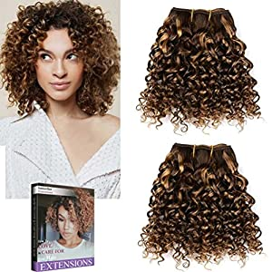 Emmet 2pcs/lot 100g Short Wave 8Inch Brazilian Kinky Curly Human Hair Extension, with Hair Care Ebook (Piano Color 4/27)