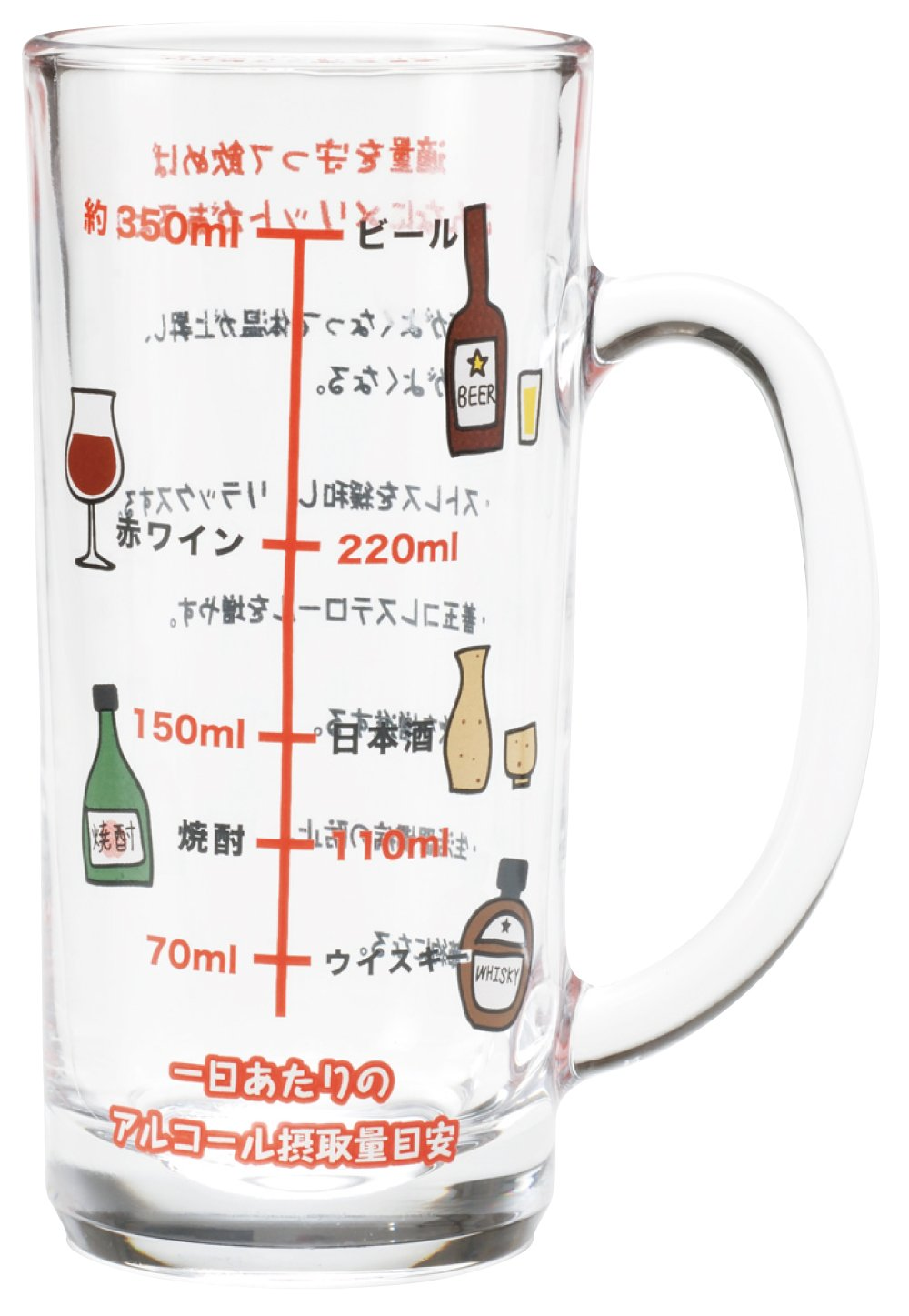 サンアート おもしろ食器 「 アルコール摂取適量 」 メモリ付 ビールグラス・ジョッキ 435cc クリア SAN1982