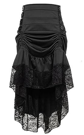 6ccecf0dc7 Charmian Women s Steampunk Victorian Gothic High Waist Lace Trim Ruffled  High Low Bustle Skirt Black Small