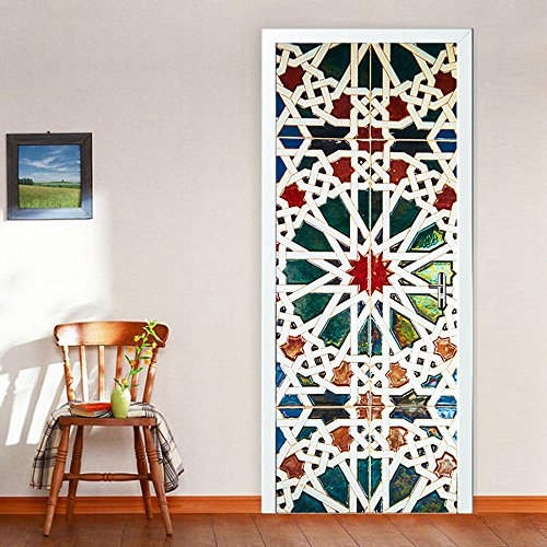 Door Mural Stained Glass Home Decoration Wall Art  Decals