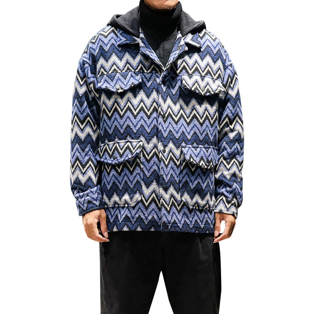 Eoeth Men's Fashion Winter Printing Blouse Fashionable Tops Cardigan Hooded Coat Faux Shearling Sweatshirt Outwear Hoodie Blue by Eoeth