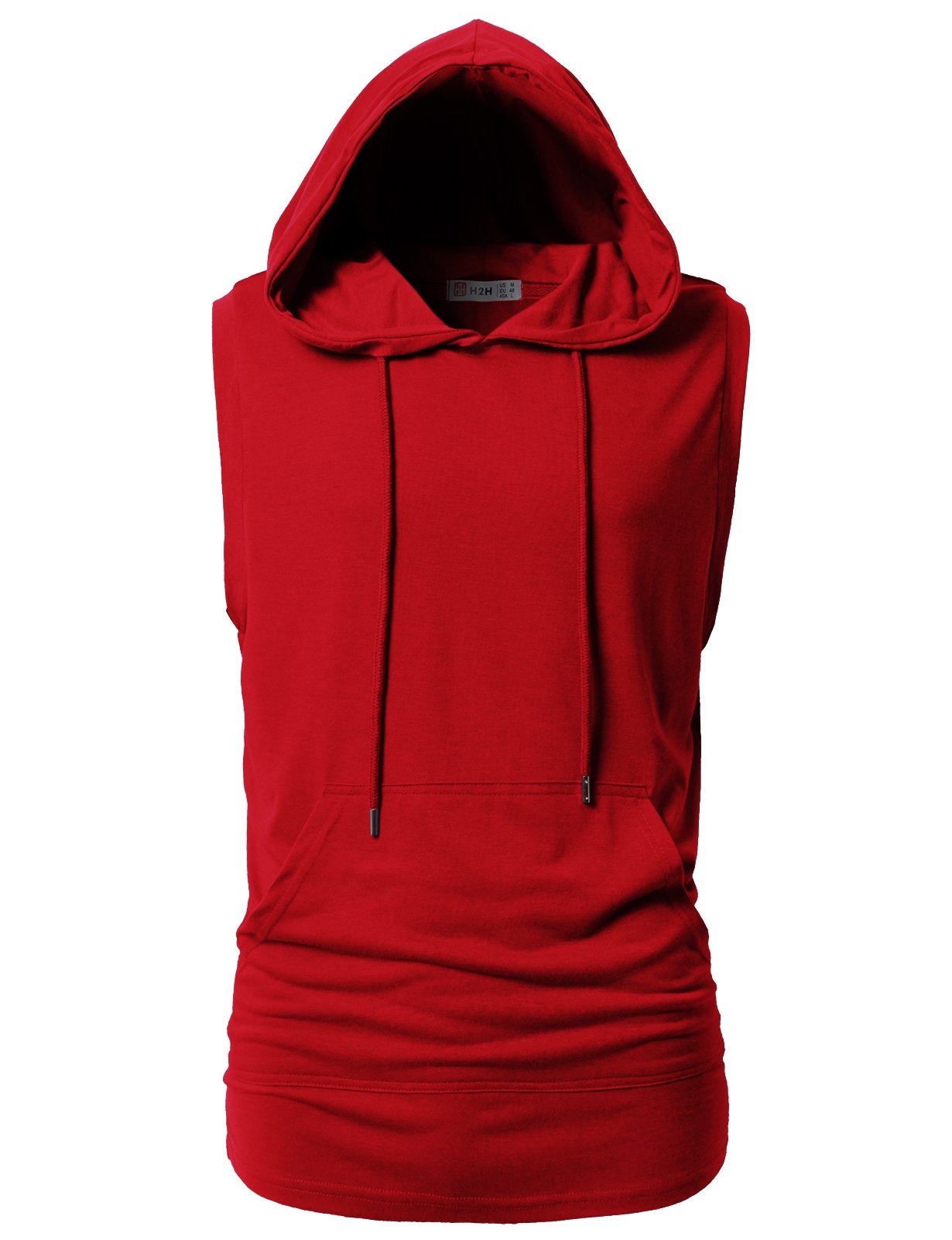 H2H Mens Casual Slim Fit Hooded Tank-Top Red US L/Asia XL (CMTTK028)