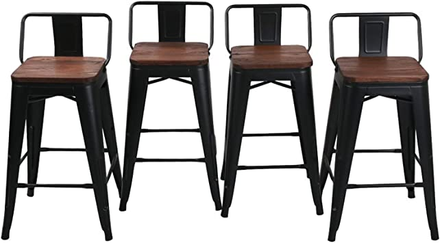 Amazon Com 24 Low Back Metal Counter Stool Height Bar Stools With Wooden Seat Set Of 4 Barstools Matte Black Kitchen Dining