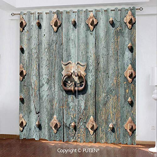 - Satin Grommet Window Curtains Drapes [ Rustic,European Cathedral with Rusty Old Door Knocker Gothic Medieval Times Spanish Style Decorative,Turquoise ] Window Curtain for Living Room Bedroom Dorm Room