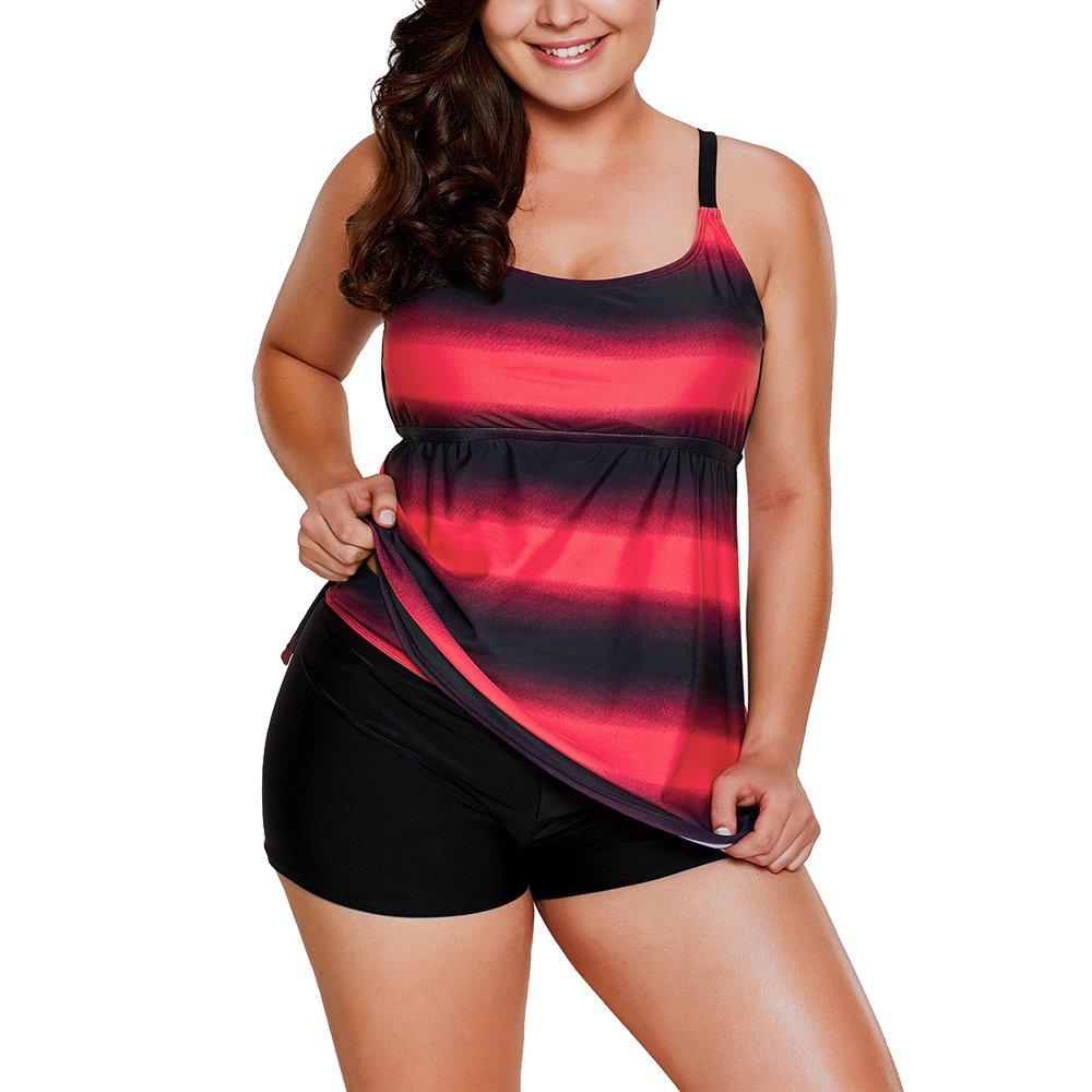 Eiffel Women's Color Block Striped Plus Size 2pcs Tankini Set Swimsuit Swimwear Eiffel Store 8110b