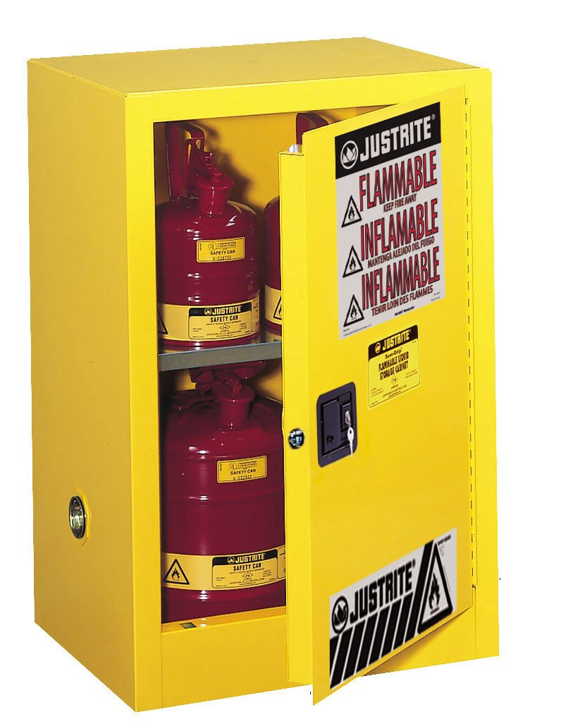 Justrite 891200 Sure-Grip EX 12 Gallon, 35'' H x 23-1/4'' W x 18'' D, 1 Door, 1 Shelf, Manual-Close Yellow Compact Flammable Storage Cabinet