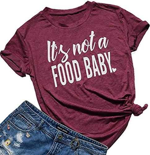 91f63c4d FANTIGO Womens It's Not a Food Baby Funny T-Shirt Cute Mom Shirt Casual  Short